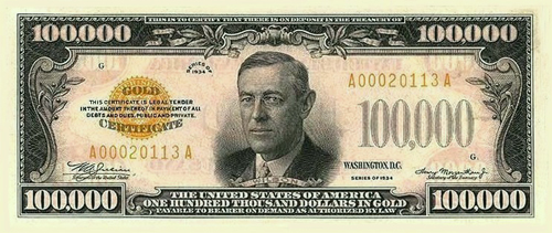 The $100,000 Bill: A surprisingly real US currency printed for only three weeks in 1934.