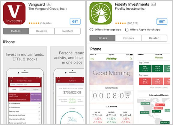 vanguard vs. fidelity mobile apps
