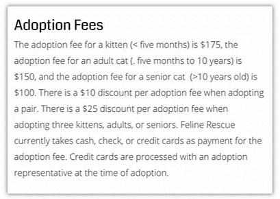 petsmart and petco adoption fees - feline rescue